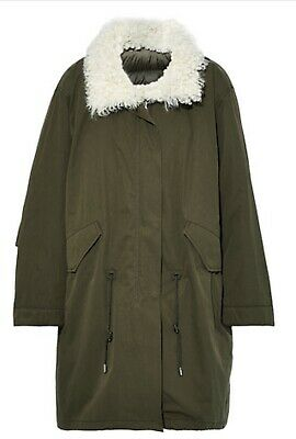 NWT army yves salomon - Reversible Shearling-Paneled Hooded Parka