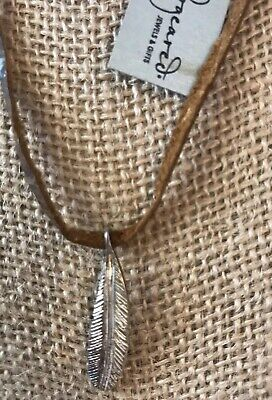 dogeared necklace Brown Leather With Silver Feather Dogeared Leather Necklace