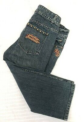 Harley Davidson Jeans Womens Size 8 Studded Stretch Denim Capri Pants Embroided