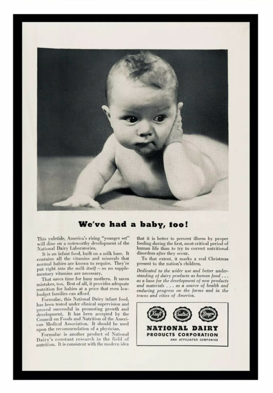 1946 National Dairy Products Corp Formulac Infant Food Cute Baby Print Ad