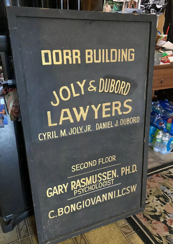 Antique Old Joly Dubord Sign Waterville Maine Me Dorr Bldg Wtvl Colby College