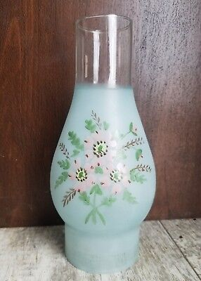 Antique Victorian Blue Frost Glass Hand Painted Kerosene Oil Lamp Shade Chimney