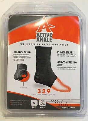 Active Ankle 329 Ankle Brace Ankle Stabilizer Compression Sleeve Strap Small NEW