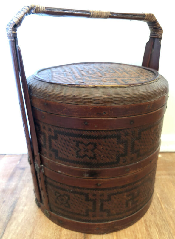 "Antique 17""H Chinese Wedding Basket with Wood Carved Handles Woven Sides and Top"