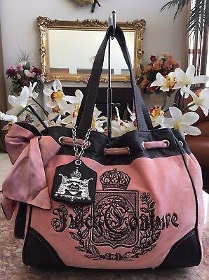 (JUICY COUTURE Pink Velvet Brown Leather Daydream Shoulder Handbag EUC! MSRP $198)