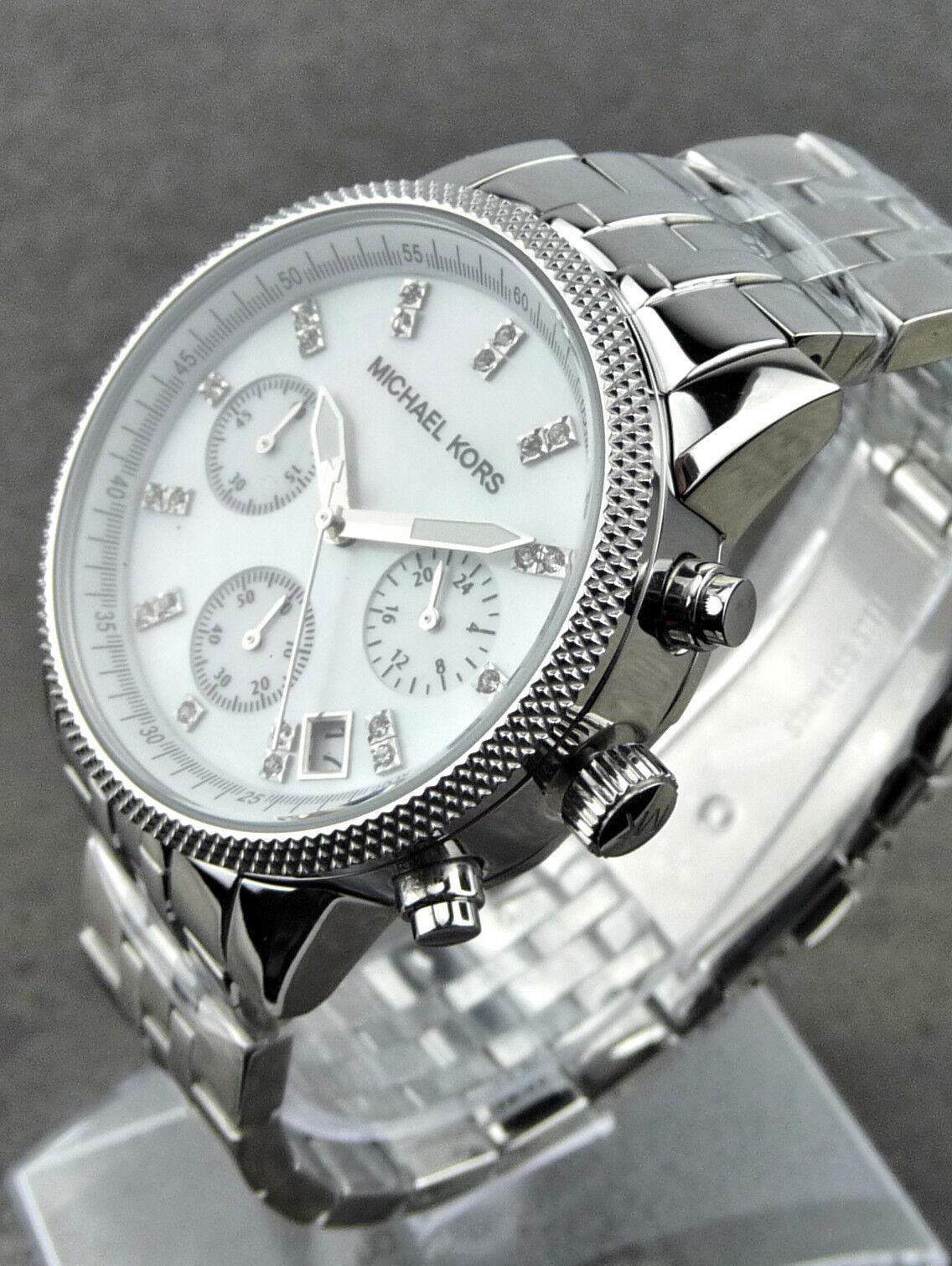 Michael Kors MK5020 Armbanduhr für Damen SILBERFARBEN/PERLMUTTFARBEN NEU