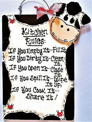 Cow Decor - COW KITCHEN RULES SIGN Wall Art Hanger Plaque Country Wood Crafts Barnyard Decor
