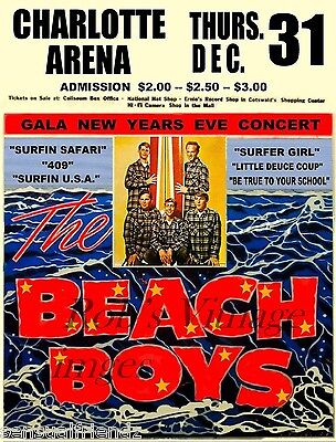 Beach Boys Rock Concert 1963 Advertising Poster Vintage  Charolotte NC 13X19