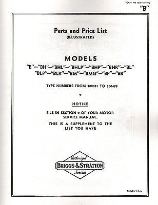 Briggs Stratton Model B Series Gas Engine Motor Parts List Book Hit Miss