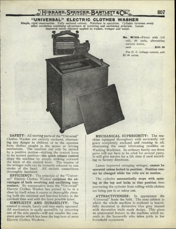 1922 PAPER AD Universal Brand Electric Clothes Washer Enclosed Washing Machine