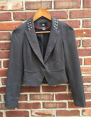 H&M GRAY STUDDED STUDS CROPPED BLAZER JACKET 4 SMALL S * RARE!