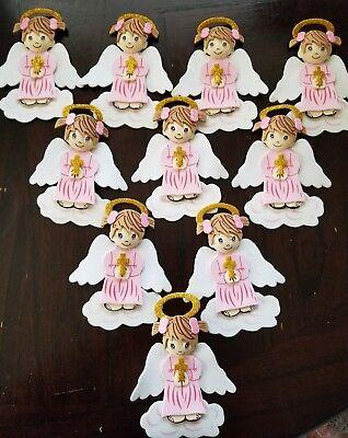 10 pcs pink ANGELS Baptism/ 1st communion foam decorations for girl  (Baptism Decor)