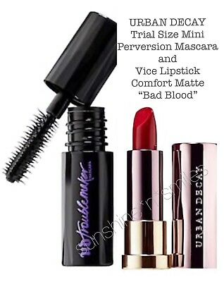 MINI Urban Decay TROUBLEMAKER MASCARA Black + VICE LIPSTICK Bad Blood + POUCH