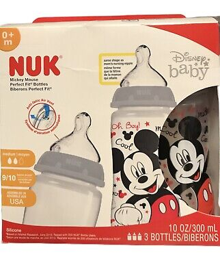Nuk Disney Mickey Mouse 10 oz Silicone Orthodontic Baby Bottles 3 ct New ~0+ mo