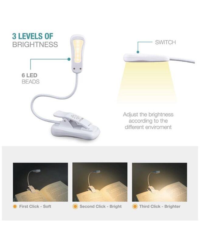 Vekkia BK-07 3000K Warm LED, Easy for Eyes, Clip, Car & Travel, Rechargeable