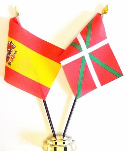 Spain State & Spain Basque Double Friendship Table Flag Set