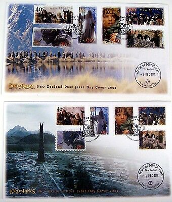 NEW ZEALAND LORD OF THE RINGS STAMPS TWO TOWERS FDC'S SET OF 2 - HOBBIT on Rummage