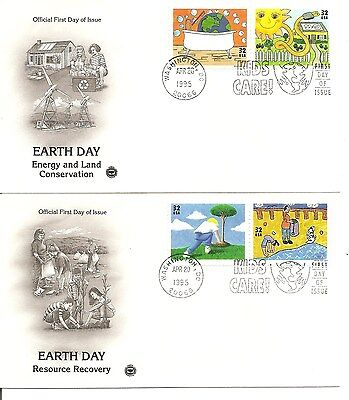 US SC # 2951-2954 Earth Day FDC. Postal Commemorative Society Cachet.