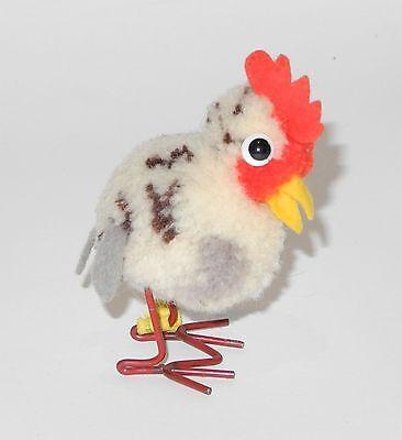 Steiff Wollminiatur Vogel Huhn mit Knopf und Restfahne Metallbeine