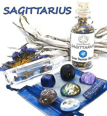 SAGITTARIUS Zodiac Gift Set - Roller Bottle + Crystals + Incense Astrology Wicca