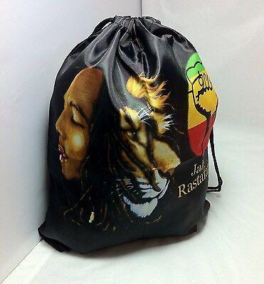 Rasta Bob Marley W/ Lion Face Drawstring Bag Knapsack Bookbag Jamaica Reggae