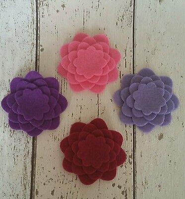16  Pink & Purple Flowers die cut in felt, applique, cards, tutus, bobbles