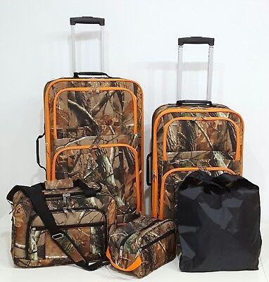 Camouflage Luggage Set - 5 Pc. Luggage Suitcase Set Camo color with Hunter Orange Trim Camouflage
