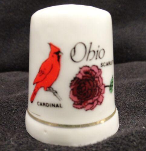 State of Ohio Porcelain Thimble with Cardinal Bird & Scarlet Carnation Souvenir