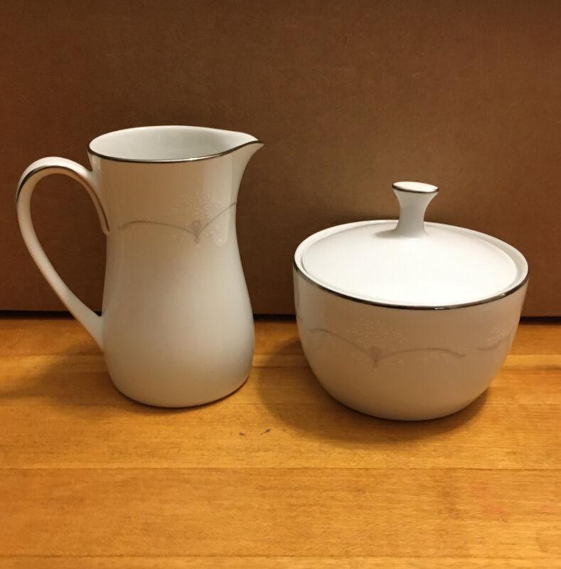 NORITAKE Whitebrook Covered Sugar Bowl and Creamer Set 6441 Vintage 1963