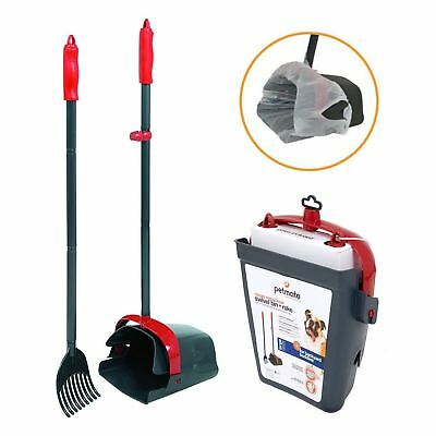 DOG POOPER SCOOPER Pet Waste Clean Pick Up Shovel Poop Swivel Bin Rake Handle