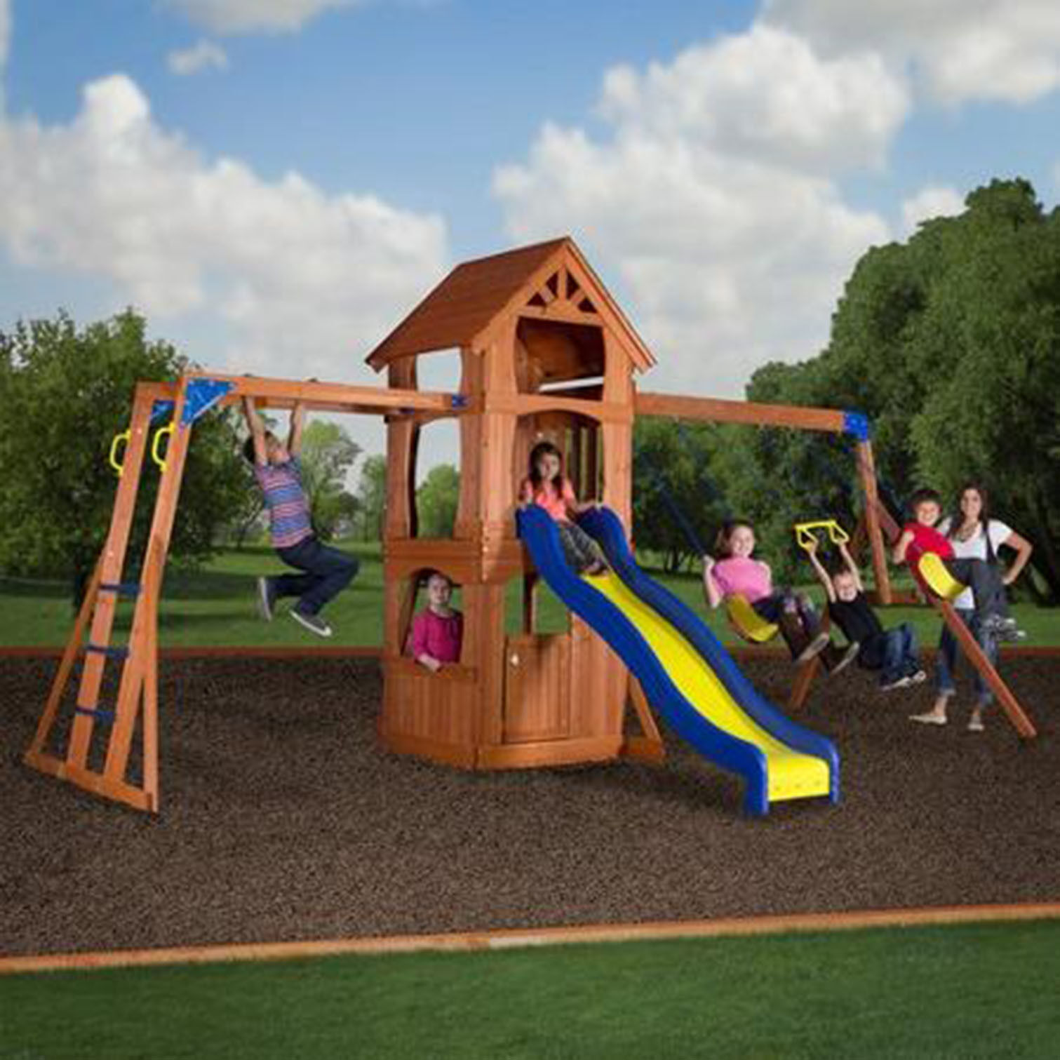 wooden swing set fort treehouse home playground backyard discovery
