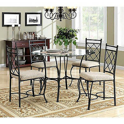 سفرة جديد 5 Piece Kitchen Dining Set Glass Top Metal Furniture 4 Chairs and Table