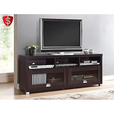 Tv Stand Entertainment Center Modern Wood 55  Flat Screen Media Storage Console