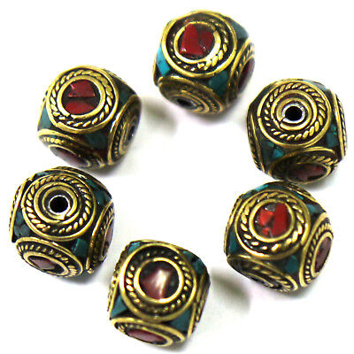 Turquoise Coral Brass 6 Beads Round Tibetan Nepalese Wholesale Lot Nepal BD101a