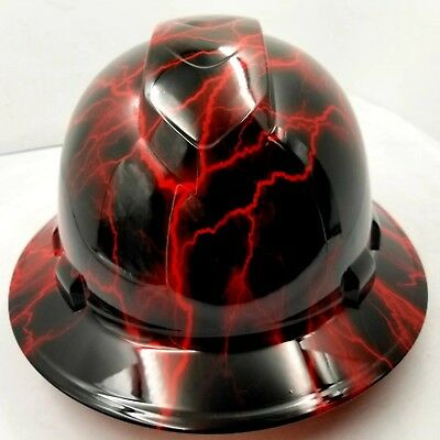 Hard Hat Custom Hydro Dipped Osha Approved Full Brim Candy Red Lightning Bolt
