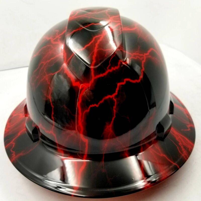 Hard Hat custom hydro dipped , OSHA approved FULL BRIM, CANDY RED LIGHTNING BOLT