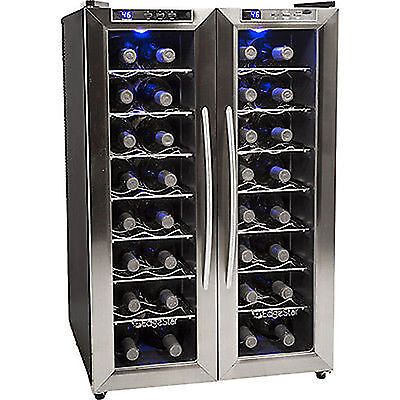 32 Bottle Stainless Steel French Door Wine Refrigerator Compact Dual Zone