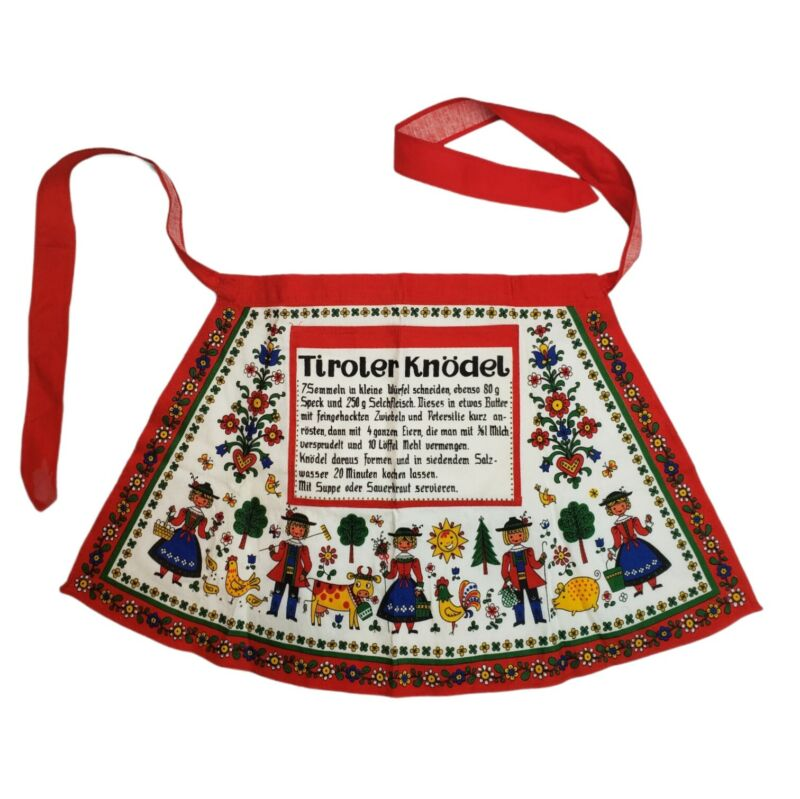 VINTAGE KOLF Half Apron Tyrolean Dumplings Recipe Austrian German Folk Art HTF