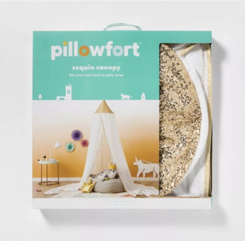 Pillowfort Gold Sequin Canopy-New in Box-Fits Twin Bed-