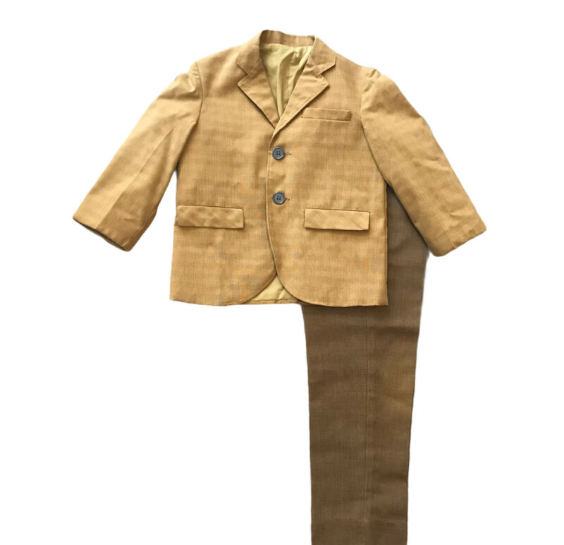 Boys Size 4 Sport Coat Lined Suit Jacket Slacks Pants Mustard Yellow Easter Vtg