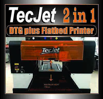 Tecjet 4-color White 57601440 Dpi 13.2x24 Dtg Flatbed Combo Printer