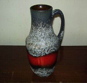 RETRO Vintage 70s LARGE West GERMANY Red FAT Lava POTTERY Pitcher VASE #2