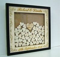Personalised Wooden / Mirror Wedding Drop Box Hearts Guest Book Alternative Zh2 - alternative - ebay.co.uk