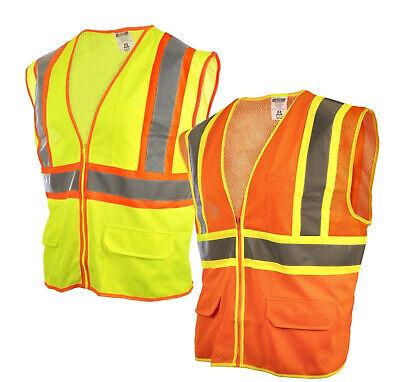 Reflective Safety Work Vest High Visibility Pockets Construction Traffic S-4xl