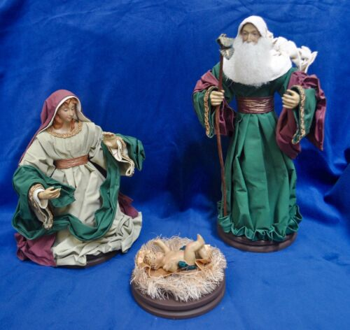 Large Fabric Mache 3 Piece Nativity Set  - Made in Philippines