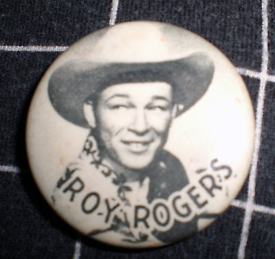 1950 ROY ROGERS PIN BACK BUTTON w/ CELLULOID COVERING / Vintage