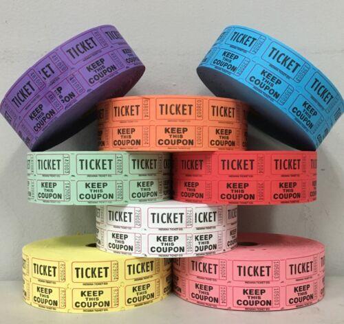 Raffle Tickets Double Stub Roll of 2000 Split the Pot 50/50 Fund Raiser Festival