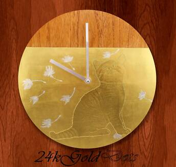 22ct Gold Gilded Luxury Wall Clock 12''- Cat and Dandelion Seeds Footscray Maribyrnong Area Preview