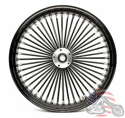 21 x 3.5 48 Fat King Spoke Front Wheel Black Rim Harley Touring Bagger 00-2007