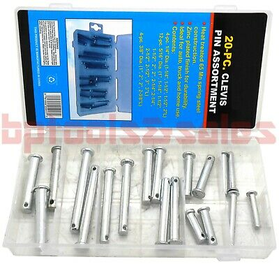 20pc Clevis Pin Assortment Kit 65mn Steel Assorted Set Auto Truck Home Use